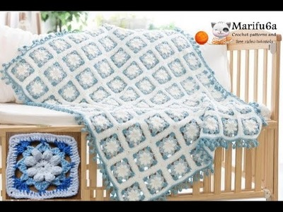 How to crochet  flowers blanket blue afghan free tutorial by marifu6a