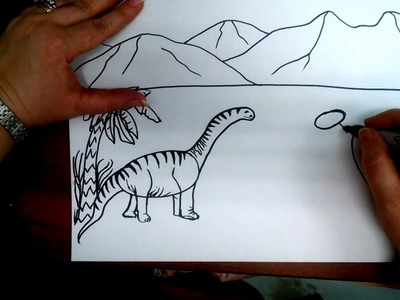 How to Draw a Dinosaur landscape