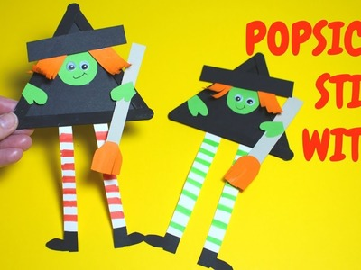How to Make a Popsicle Stick Witch | Halloween Crafts for Kids