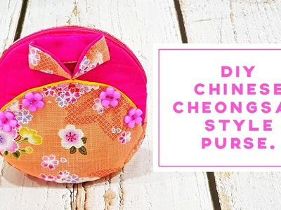 How to make Chinese Cheongsam style purse 【FREE TEMPLATE DOWNLOAD】#HandyMum ❤❤