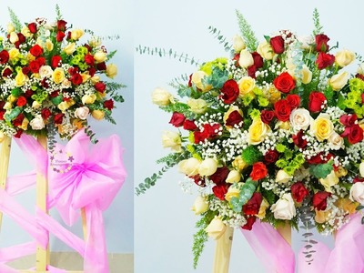 How to make Decoration Luxury Rose Congratulation flowers Arrangement?