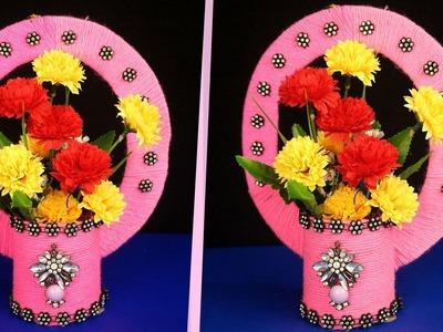 How to make Flower Vase with Woolen,Cardboard & Plastic Bottle - Handmade Craft Unique Idea 2018