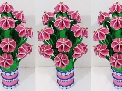 How to make flower vase with plastic bottle & glitter sheet | Guldasta