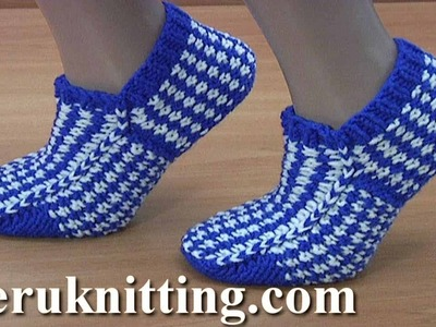 How to Make  Knitted Sock With Lazy Jacquard Tutorial 287