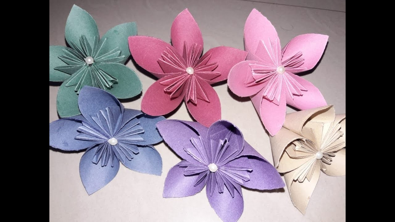 How to make paper flower, Paper flower origami, Paper craft,