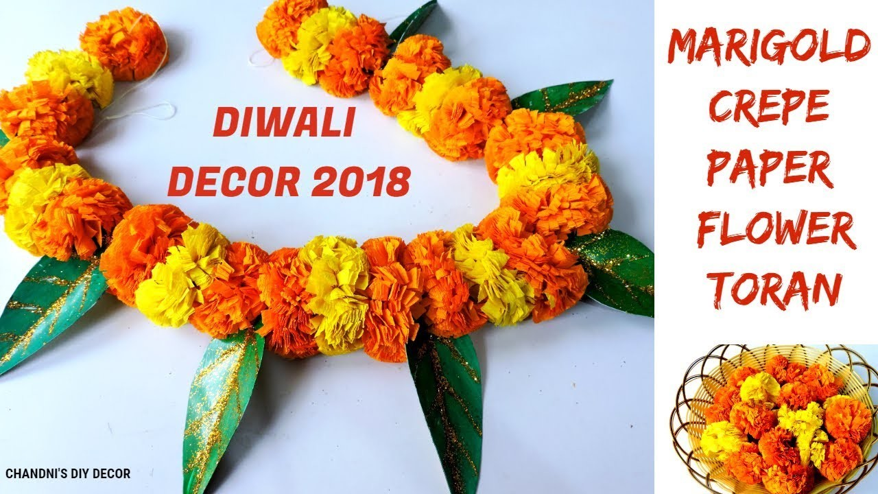How To Make Paper Flower Toran With Leaves Diy Marigold Paper