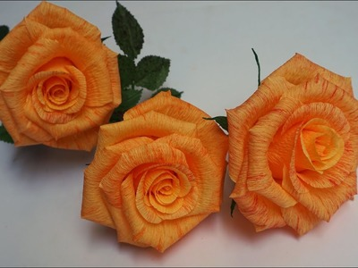 How to make Rose - Beautiful Roses from paper crepe. Origami Roses and Flowers