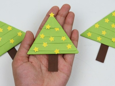 How to Make Simple and Easy Paper Christmas Tree Bookmark DIY Christmas Paper Crafts Christmas 2018