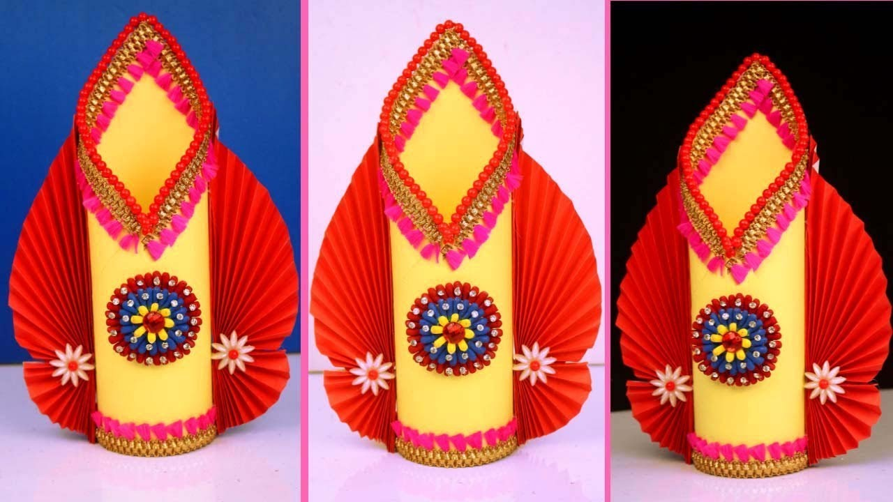 How to Make Stylish Paper flower vase.Awesome Paper flower vase at home. Paper craft ideas