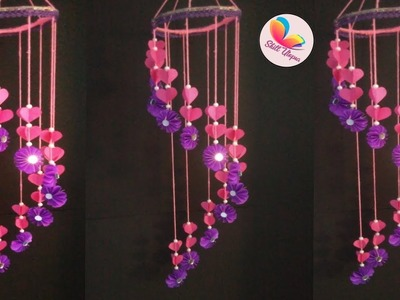 How to make wind chime out of paper - Handmade paper jhumer. paper craft idea