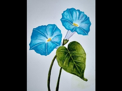 How to paint blue flowers using water colors. Morning glory flower water color painting.