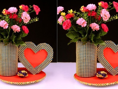 How to Transform Plastic Bottle & Cardboard into Beautiful Vase and Frame Best Out of Waste Crafts
