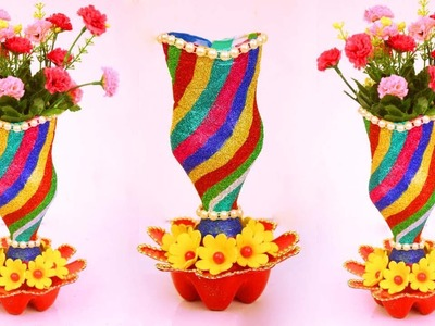How to Transform Plastic Bottle into luxurious Flower Vase.Plastic Bottle Flower Vase Idea at Home