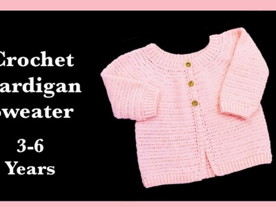 ((LEFT HANDED)) How to crochet cardigan sweater for girls and boys 3-6 years #150