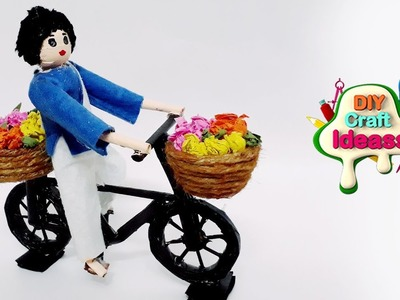Newspaper   newspaper Flowers   flowers selling man with cycle   newspaper craft   Diy craft ideas