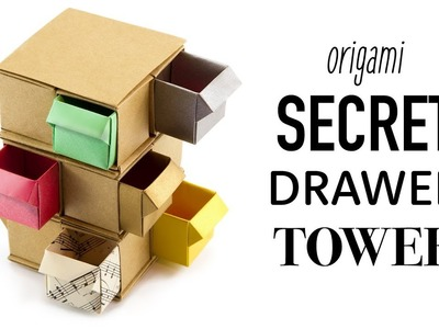 Origami Secret Drawer Tower Tutorial - DIY - Paper Kawaii