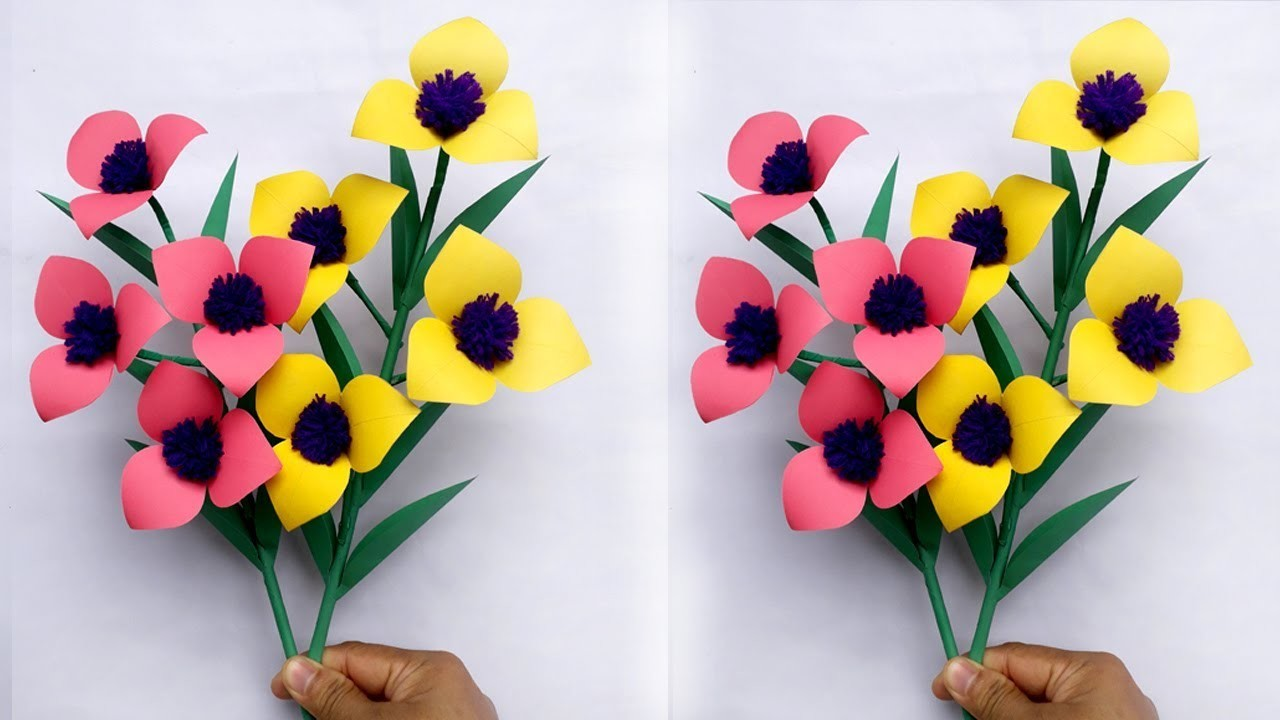 Paper Flower Stick !! How to Make Beautiful Paper Stick #Flower for Room Decor!!!