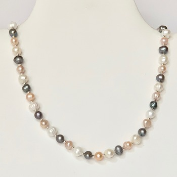 Pink Freshwater Pearl, Ivory Freshwater Pearl and Gray Freshwater Pearl Necklace