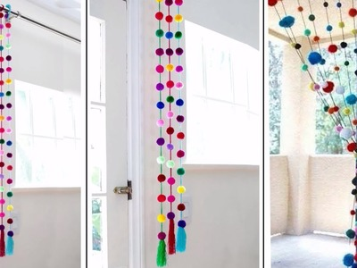 Pom Pom!!! Wall Hanging | How to make Door Hanging at Home | Woolen Craft Idea