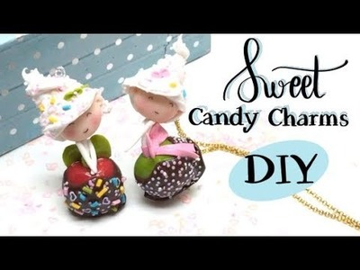 Sweet candy charms- Polymer clay, resin, glitter and deco cream! DIY- Tutorial