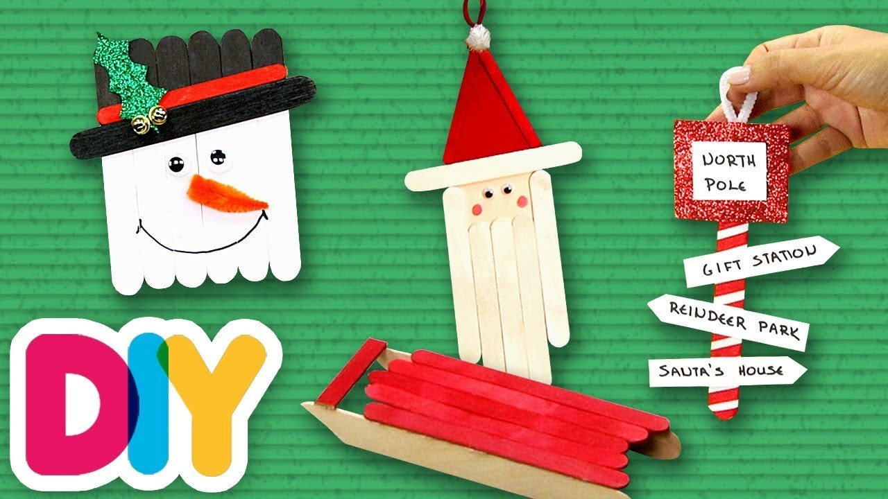 4 CHRISTMAS Popsicle CRAFT IDEAS for TODDLERS to do at home | Fast-n-Easy | DIY Arts & Crafts