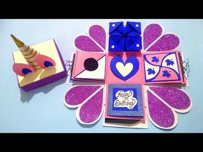Beautiful Explosion box Idea for Birthday    EXPLOSION BOX TUTORIAL   UNICORN THEME