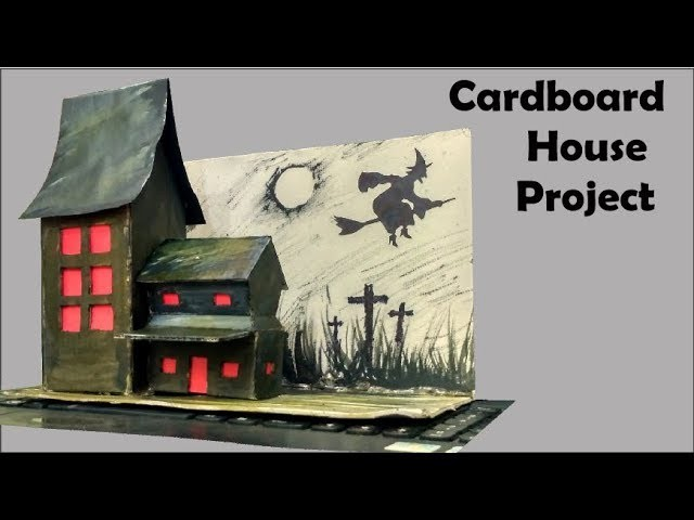 Cardboard house project | how to make a haunted house out of a cardboard box