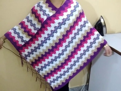 Convert Stawl.Shawl to Poncho with only one cut & two straight stitch