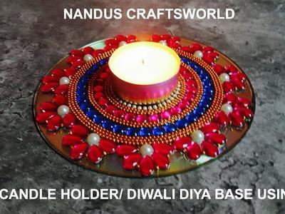 DIY   Candle Holder   DIYA AND CANDLE HOLDER CRAFT  Diwali decoration