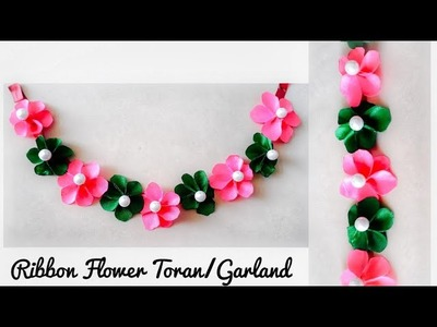DIY Diwali & Christmas Decoration Ideas | Ribbon Flowers Toran. Garland. Door hangin| Quicky Crafts