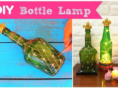 DIY Handpainted Bottle Lamp | Diwali Decoration Ideas