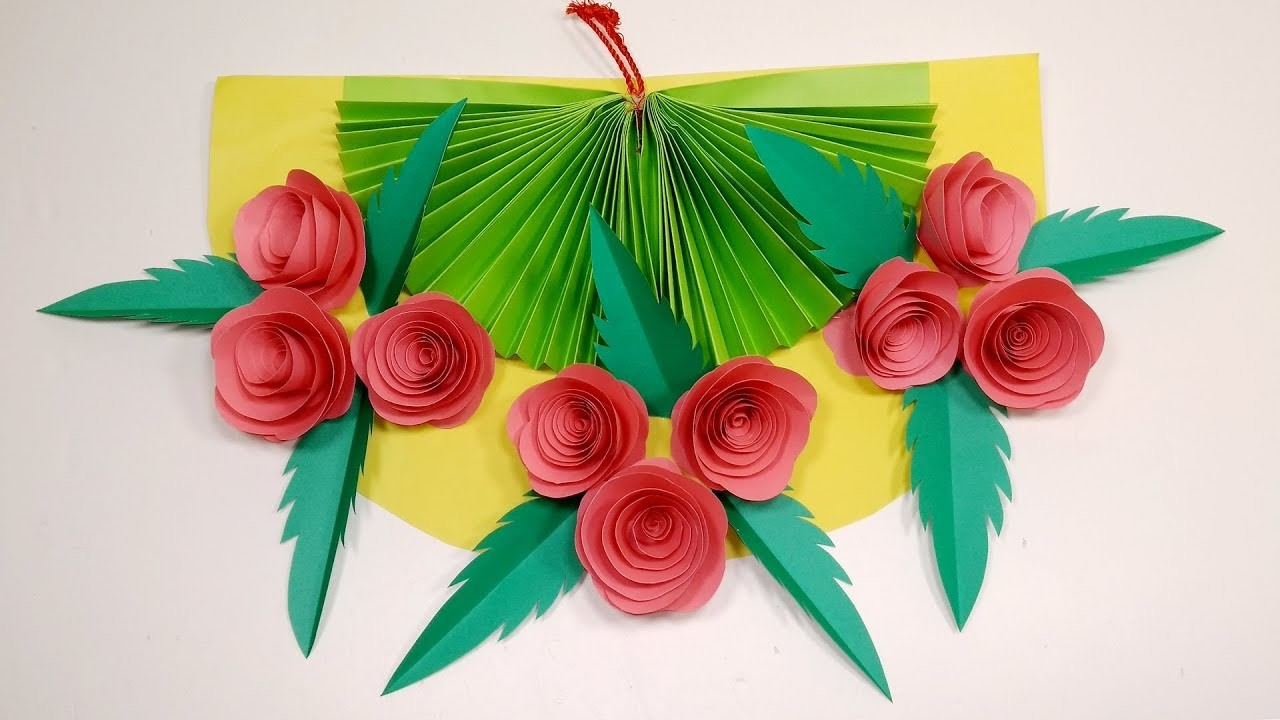 DIY: How to Make Beautiful Paper Rose Wall Hanging   Paper Wall Hanger   Jarine's Crafty Creation