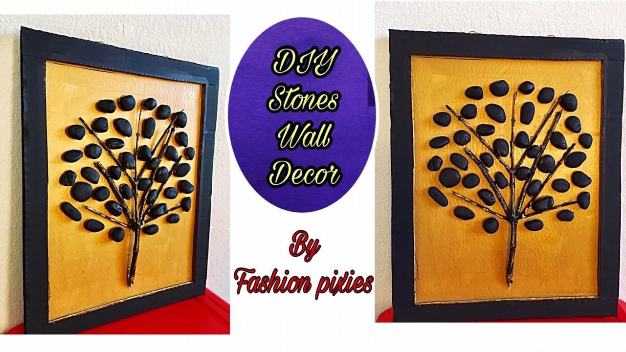 Diy Stone wall hanging craft.wall decor.room decor idea.Fashion pixies.rocks decoration