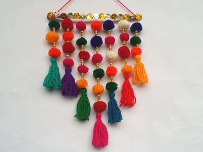 DIY. Wall Hanging!!! How to Make Beautiful Pompom Wall Hanging for Room Decoration!!!!