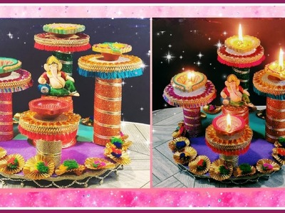 Diya stand from waste Cardboard.Candle stand | Best out of waste | Lets make Art