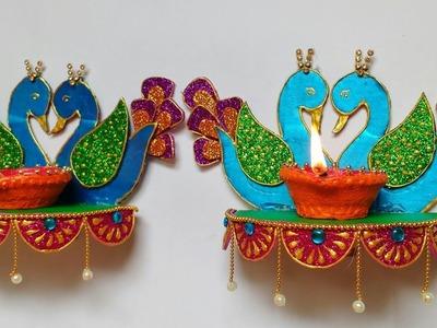 Diya Stand | Wall Hanging Diya Stand | Peacock Diya Stand | DIY | Diwali Craft Idea | Punekar Sneha