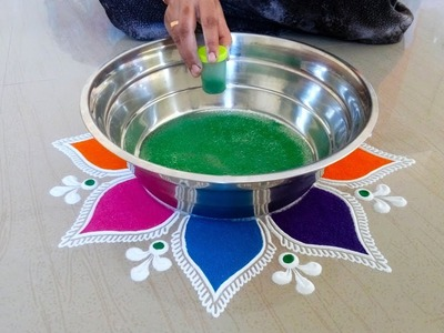Easy Flower Rangoli Designs | Easy Kolam Design