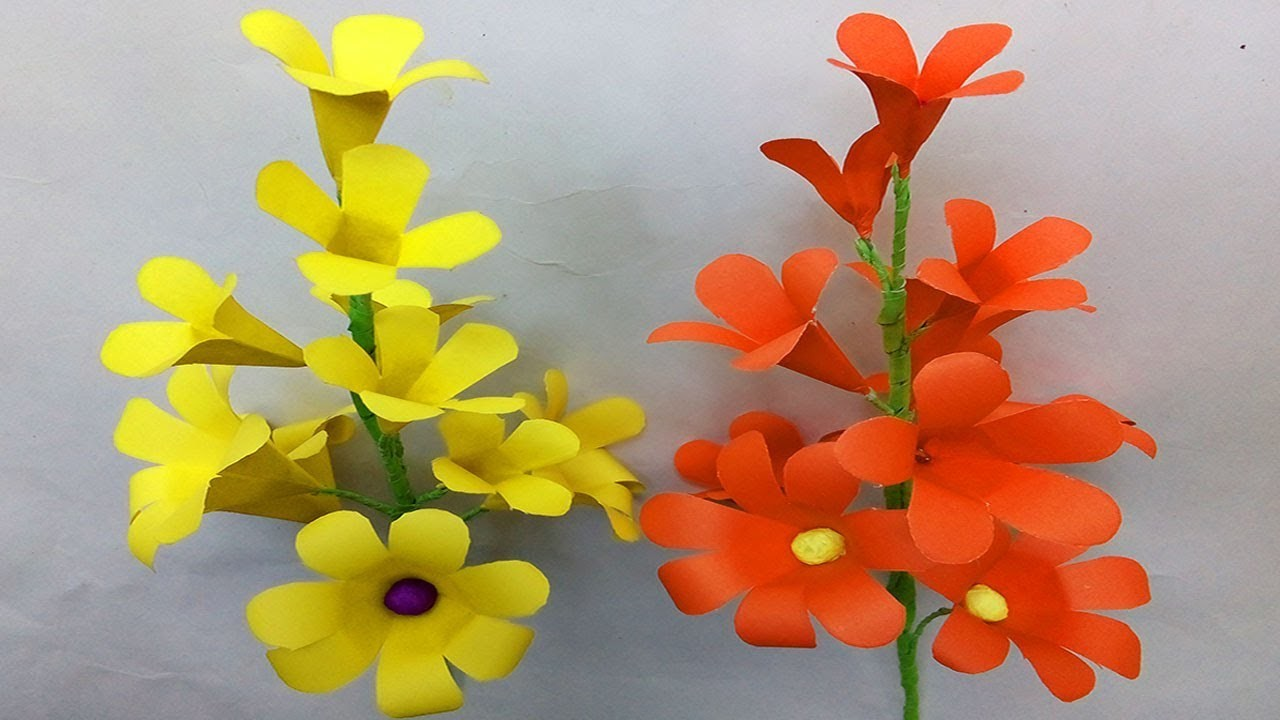 FlowerUPC | How to make paper flowers at home | Stick flowers |  Paper flowers making step by step