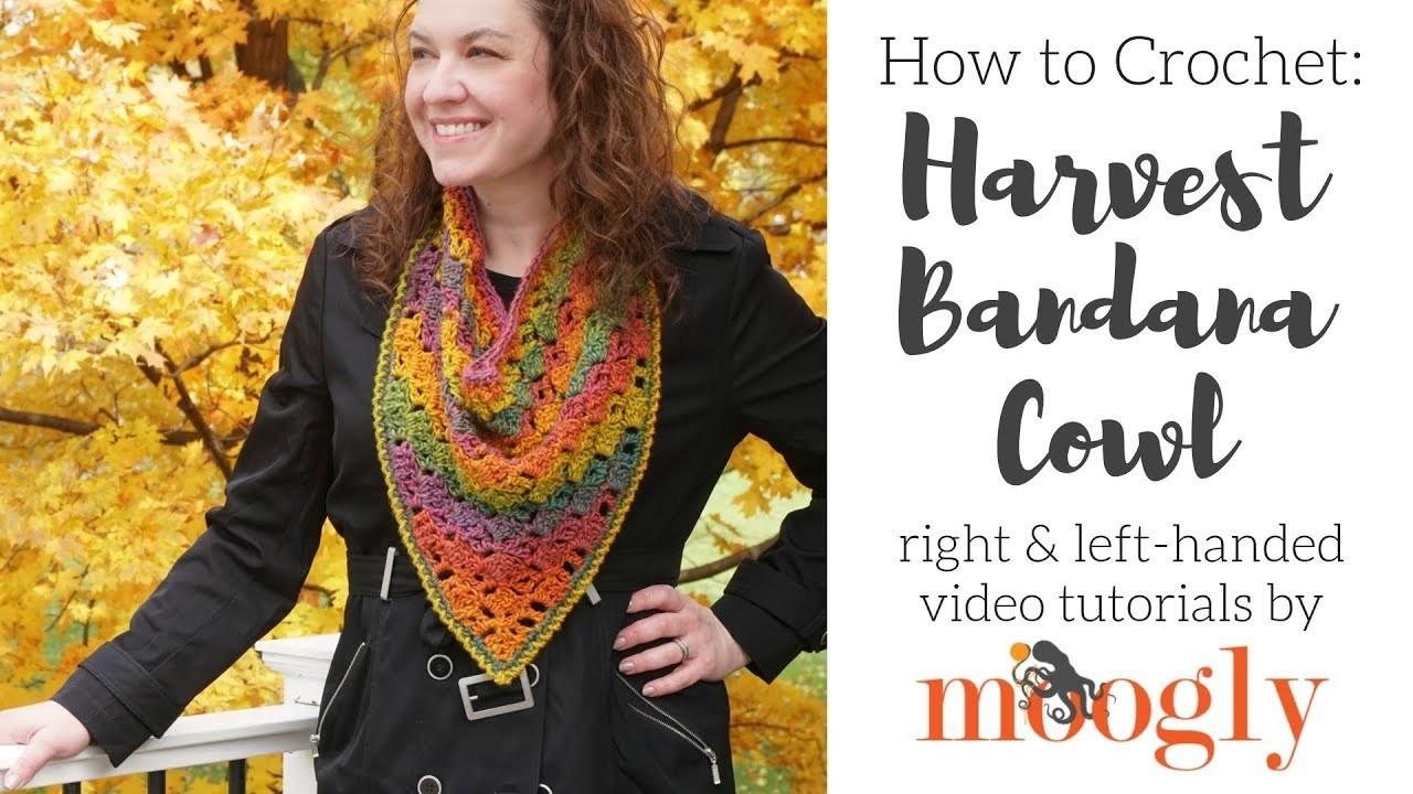 How to Crochet: Harvest Bandana Cowl (Left Handed)