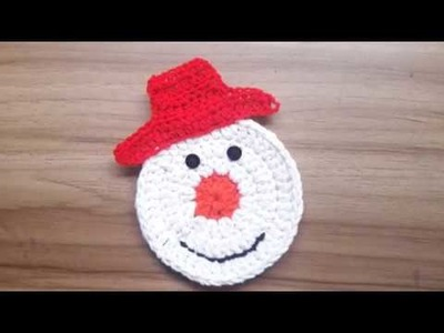 How to Crochet Snowman Coaster- Christmas Special
