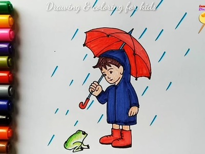 How to draw a rainy day. coloring pages for kids