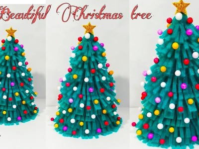 HOW TO MAKE CHRISTMAS TREE AT HOME.CHRISTMAS DECORATION IDEAS.FOAM SHEET CHRISTMAS TREE