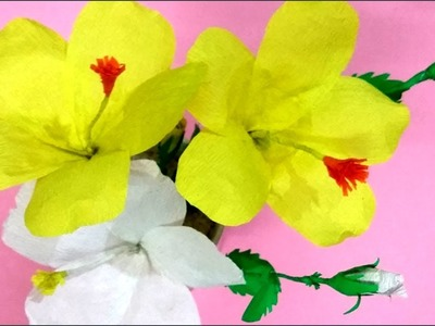 How to Make Flowers with papers | Flower Making with Paper | How to Make Flowers with Crepe Paper