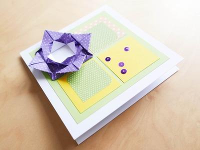 How to make : Greeting Card with an Origami Flower | Kartka Okolicznościowa - Mishellka #309 DIY