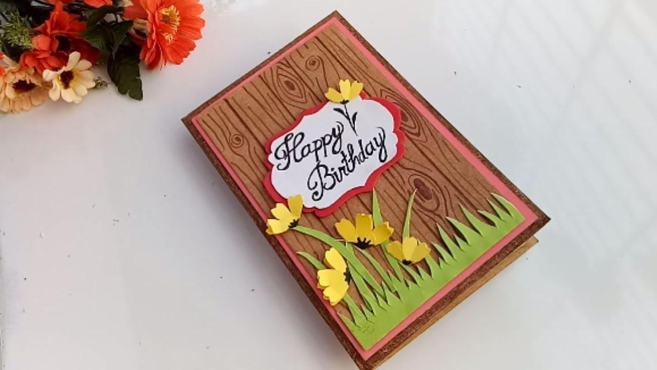 How to make wood grain card idea.Happy Birthday card.