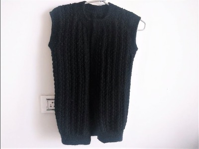 Knitting Black Half Cardigan Ladies L Size || Sweater bunai Hindi Video || Latest Patterns ||