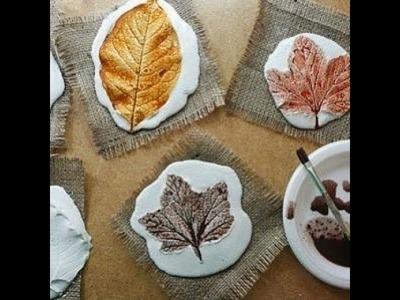 Leaf DIY idea. Plaster of paris leaf casting