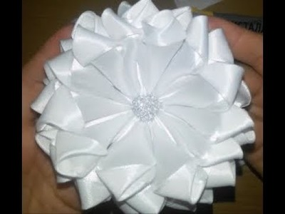 Simple and Beautiful White Satin Ribbon Flower
