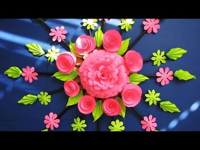 Wall Decoration Ideas | Beautiful Wall Hanging Making at Home | Paper Flower Wall Hanging r5
