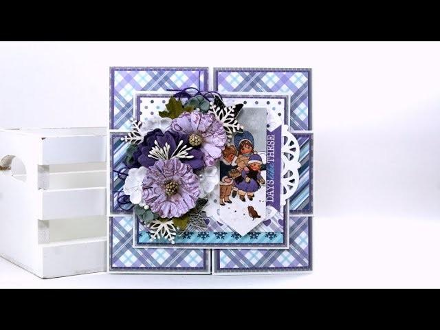 Z Fold Christmas Card Tutorial Authentique Polly's Paper Studio DIY Process Vintage